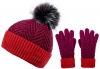 Alice Hannah Alesha Multicolour Bobble Hat with Matching Gloves in Fuchsia