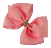 Molly and Rose Large Diamante Hair Bow in Fuchsia