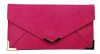Papaya Fashion Faux Leather Envelope Bag in Fuchsia
