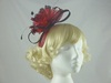 Feather and Sinamay Loops Fascinator in Fuschia & Black