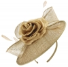 Failsworth Millinery Silk Rose Disc Headpiece in Gold-Silver