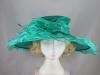 Wide Brimmed Rosette Organza Hat in Green