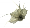 Aurora Collection Rose Two Tone Fascinator in Grey & Cream