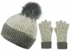 Alice Hannah Alesha Multicolour Bobble Hat with Matching Gloves in Grey