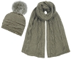 Alice Hannah Alexa Ribbed Knitted Beanie with Matching Scarf in Grey