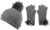 Alice Hannah Alina Diagonal Ribbed Beanie with Matching Gloves in Grey
