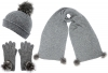 Alice Hannah Alina Ribbed Beanie with Matching Scarf and Gloves in Grey