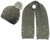 Alice Hannah Allie Sparkly Stars Bobble Hat with Matching Scarf in Grey