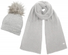 Alice Hannah Knitted Bobble Ski Hat with Matching Scarf in Grey