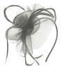 Aurora Collection Swirl & Biots Fascinator on aliceband in Grey