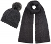 Boardman Cable Knit Bobble Hat with Matching Scarf in Grey
