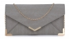Papaya Fashion Faux Leather Envelope Bag in Grey