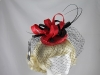 Failsworth Millinery Veiled Headpiece in Hibiscus & Black