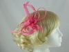 Fascinator with Loops and Feathers in Hot Pink