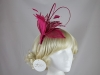 Hawkins Collection Quill and Leaves Fascinator in Hot Pink