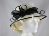 Elegance Collection Sinamay Loops Wedding Hat in Ivory & Black