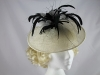 J.Bees Millinery Ivory and Black Disc