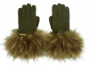 Alice Hannah Knitted Gloves in Khaki