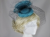 Failsworth Millinery Mini Pillbox with Veil in Kingfisher & Black