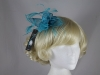 Failsworth Millinery Sinamay Leaves and Feathers Fascinator in Kingfisher