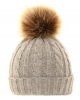Cable Knit Kids Hat with Pom Pom in Light Grey