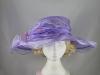Wide Brimmed Rosette Organza Hat in Lilac