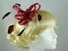 Fascinator with Loops and Feathers in Burgundy