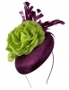 Failsworth Millinery Button Asoct Headpiece in Malbec & Zest