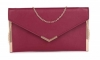 Papaya Fashion Envelope Faux Leather Bag in Maroon