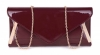 Papaya Fashion Patent Envelope Style Bag in Maroon