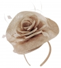 Elegance Collection Rose Pillbox Headpiece in Metallic Nude