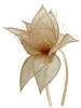 Elegance Collection Sinamay Leaf Fascinator in Metallic Nude
