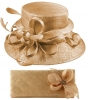 Elegance Collection Sinamay Wedding Hat with Matching Sinamay Bag in Metallic Pink