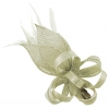 Elegance Collection Loops and Leaves Fascinator in Metallic White