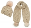 Boardman Sparkle Bobble Ski Hat with Matching Scarf in Mink