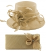 Elegance Collection Sinamay Wedding Hat with Matching Sinamay Bag in Natural