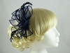Fascinator with Curled Fabric and Biots in Navy