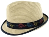 SSP Hats Boys Straw Trilby in Navy-Multi Dino