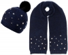 Alice Hannah Allie Sparkly Stars Bobble Hat with Matching Scarf in Navy