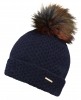 Alice Hannah Knitted Bobble Ski Hat in Navy