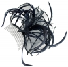 Aurora Collection Fascinator with Curled Fabric and Biots in Navy