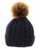 Cable Knit Kids Hat with Pom Pom in Navy