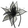 Elegance Collection Sinamay Leaf Fascinator in Navy