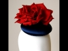 Esther Louise Millinery Navy Satin Silk Button Hat