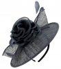 Failsworth Millinery Silk Rose Disc Headpiece in Navy