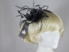 Failsworth Millinery Sinamay Leaves and Feathers Fascinator in Navy