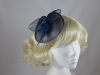 Net and Feathers Fascinator in Navy