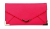 Papaya Fashion Faux Leather Envelope Bag in Neon Pink