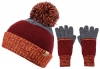 Boardman Cruz Mens Multi Colour Beanie with Matching Gloves in Orange