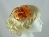 Loops in Hessian Fascinator in Orange